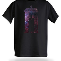 10th Doctor Galaxy Silhouette T-Shirt - Black,