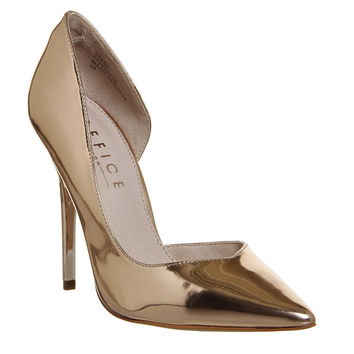 Office Natalie Dorsay Point Courts Heels Rose Gold Mirror - High Heels
