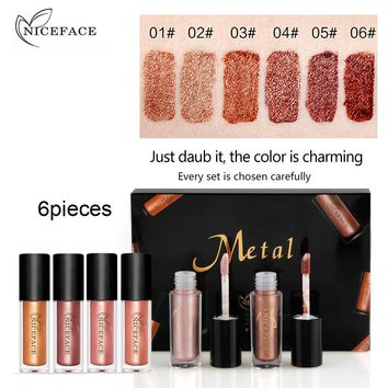 NICEFACE Brand Liquid Lipstick Makeup Set Waterproof Pigment Gold Nude Sexy Dark Red 6pcs Long Lasting Metallic Lip Gloss Set