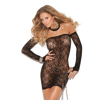 Plus Size Open Back Lace Dress
