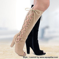 Laurent Knee High Lace Up Peep Toe Block High Heel Boots