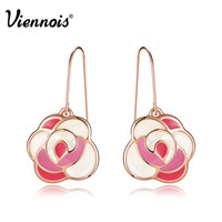 Newest Viennois Fashion Jewelry Rose Gold Plated Spring Pink Flower Dangle Earrings for Woman Earrings Accessories