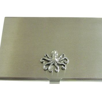 Silver Toned Textured Octopus Business Card Holder