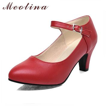 Meotina Shoes Women High Heels Ladies Pumps Big Size 34-42 Spring Pointed Toe Mary Jane Career Chunky High Heel Black Lady Shoes