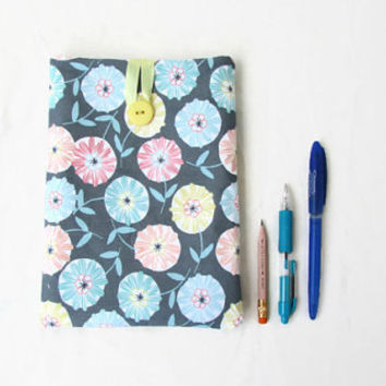 IPad Mini case, grey flower fabric, fabric tablet cover, Ipad Mini cover, padded tablet sleeve, gift for her, handmade in the UK