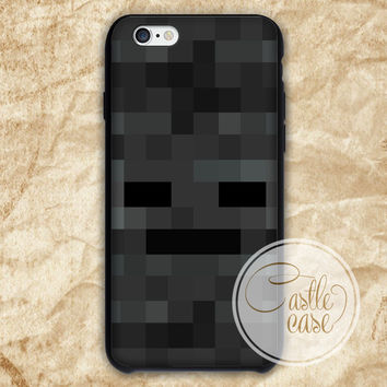 Minecraft wither Black White iPhone 4/4S, 5/5S, 5C Series Hard Plastic Case