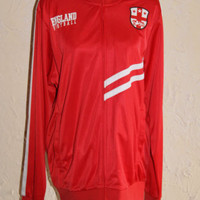 FIFTH SUN ENGLAND FOOTBALL Red And White Zip Front Windbreaker Size Large