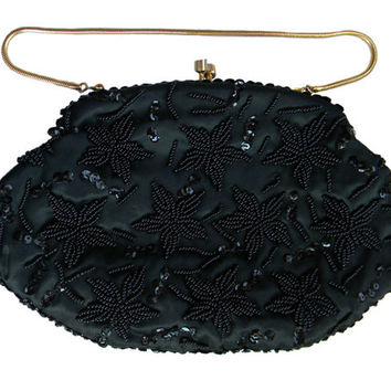 Black Beaded Formal Evening Purse Convertible Strap Clutch by La Regale