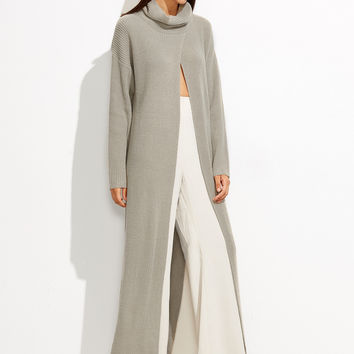 Gray Turtle Neck Sweater Duster