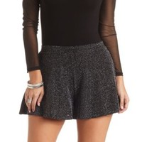 Sparkling Metallic Flared Shorts by Charlotte Russe - Black/Silver