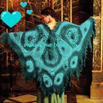 Vintage 70's Crochet Butterfly Shawl 70's Bohemian Vintage Fashion - PDF Pattern - Instant Download Pattern - Fringe Shawl Wrap