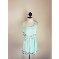 Scallop Cute Mint Seafoam Blue Jane Austen Chiffon Breakfast at Tiffany's Marie Antoinette Boho Romantic Great Gatsby 1920s Elven Dress