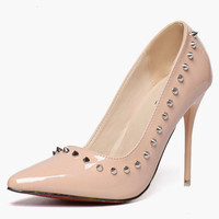 Rivets Stiletto Heel PU Leather Pointed Toe High Heels