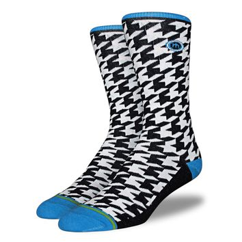 Men's Blue Houndstooth Socks