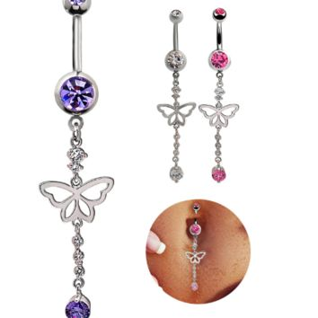Lovely hollow out butterfly shape with  tassels zircon belly button ring antiallergic Navel Belly Ring-0428-Gifts box