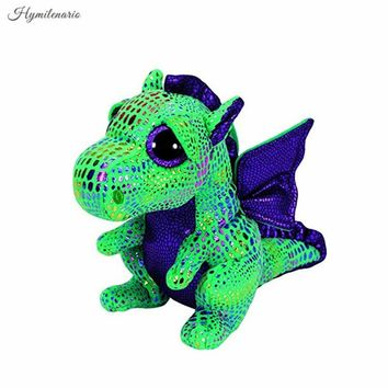 Hot Ty Beanie Boos Big Eyes 15CM Green Dragon Plush Toy Doll Kawaii Stuffed Animals Collection Lovely Children's Gifts