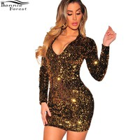 Bonnie Forest Sparkly Sequin Details Party Dresses Autumn Sexy Deep V Neck Sequin Bodycon Long Sleeve Christmas Dress Clubwear