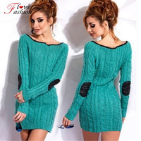 Women Autumn Winter Dresses Blue Gray Warm Sweater Dress O-neck Long Sleeve Skinny Pencil Knitted Bodycon Dress Patchwork Sleeve