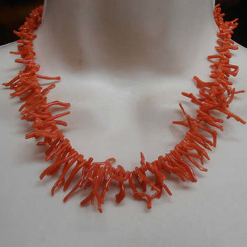"Red Branch Coral Necklace, Natural Graduated, 16.5"" Long"