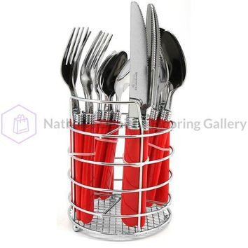Gibson Sensations II 16 pc Plastic Handle Flatware- Red
