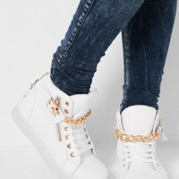 Flawless White & Gold Quilted Hi Top Trainers | Pink Boutique