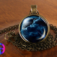 Stunning Space Moon Planet Galaxy Nebula Night Necklace Jewelry Pendant Art Gift