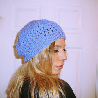 Blue beanie, light knit hat, custom color beanie, comfy hat, knit mesh beanie, hand knitted hat, handknitted beanie