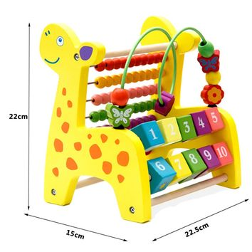 3 in 1 Kid Wooden Fawn Developmental Toy Revolving Number Blocks & Abacus & Beads Maze Puzzle Educational Children Toys