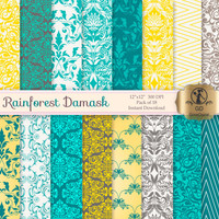Damask Digital Paper Pack : 'Rainforest Damask' - for scrapbooking, crafting, invitations, cardmaking - Yellow Teal Blue Grey Gray