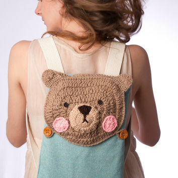 small backpack crochet bear cute light blue beige ipad backpack FREE SHIPPING