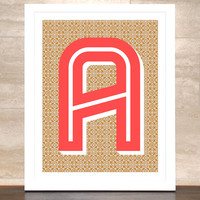 The Letter A, Original Art Print, Typography, Alphabet