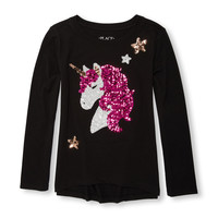 Girls Long Sleeve Sequin Graphic Hi-Low Top | The Children's Place