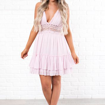 Have Adventures Crochet Open Back Dress (Pink)