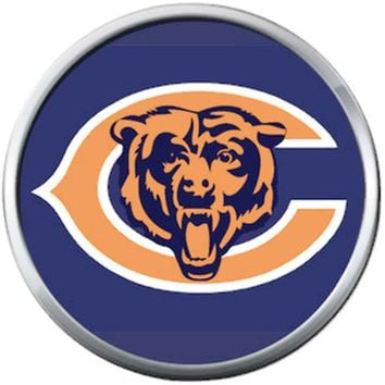 Chicago Bears NFL Logo With Bear On Blue Football Lovers Team Spirit 18MM - 20MM Snap Jewelry Charm