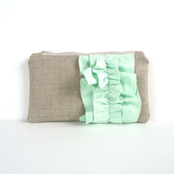 Mint Green Burlap Ruffle Zipper Clutch - Bridesmaid Gift - Pastel Mint Wedding Bag