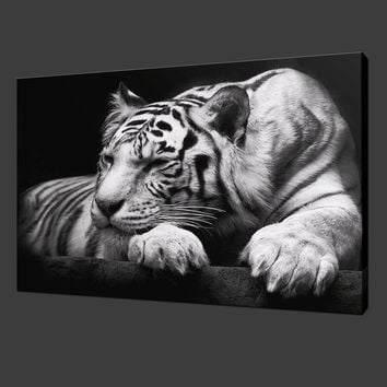 ( Unframed, Only Print ) Canvas Print for Home Decoration Animal Tiger Black and White , Choose Color & Size