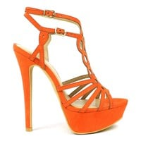 Fahrenheit Divina-06 Laser-cut High Heel Platform Sandal in Orange @ ippolitan.com