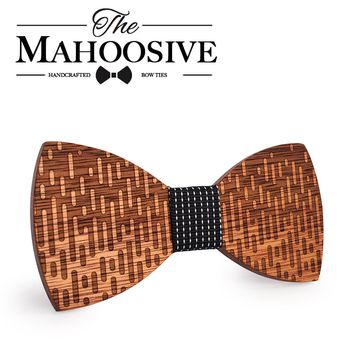 MAHOOSIVE Wood Bow Tie Wedding Decoration High Quality Handmade Wooden Bow Ties with Case Free Ultra-light Fashion