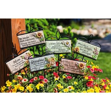 SheilaShrubs.com: Wishgivers Simple Blessings Garden Stakes (Assorted 6 Pack) 845224 by Evergreen Enterprises: Garden Stakes & Balancers