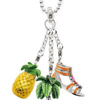 Tropical Days Pineapple Palm Tree And Gladiator Sandal Charms in 925 Silver