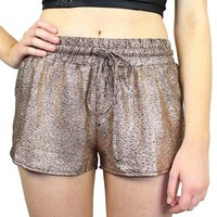 Sparkly Gold Elastic Mini Shorts with Curved Side Hems #shorts #chic #gold #party #sparkly #glittery