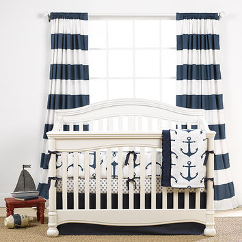 Cabana Stripe Curtains - Navy