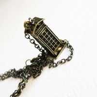Vintage Antique Brass Phone Booth Necklace by SoulJewellery