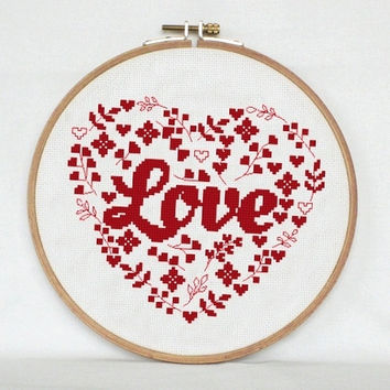 Flower heart cross stitch pattern - love cross stitch heart  -  Valentine cross stitch pattern - pillow embroidered - valentines day
