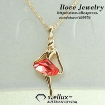 Free Shipping Rigant Fashion Ballet Girl Red Crystal Necklaces