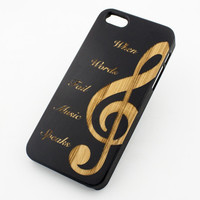 Black Bamboo Wood Case - When Words Fail  Music Speaks