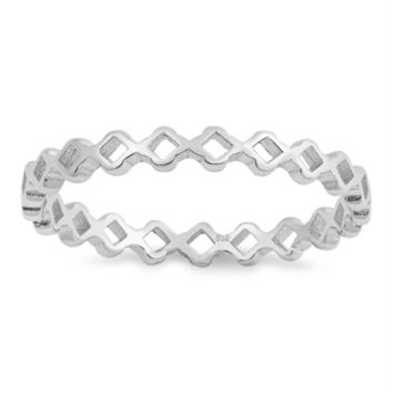 .925 Sterling Silver Tiny Diamond Eternity Band Ring Ladies and Kids Size 4-10 Midi Thumb Knuckle