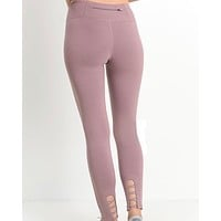 Active Hearts - Criss Cross Cut Out Accent Active Leggings in Light Mauve