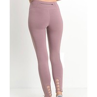 active hearts - crisscross cutout accent active leggings - light mauve