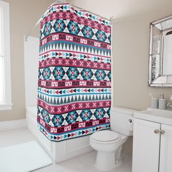 Trendy Aztec Style Patterned Shower Curtain